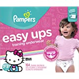 Pampers Easy Ups Disposable Training Underwear Girls Size 2T-3T (Size 4), 164 Count (One Month Supply) -- Packaging May Vary