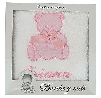Toalla de ducha para bebé BORDADA CON EL NOMBRE, Modelo osito rosa