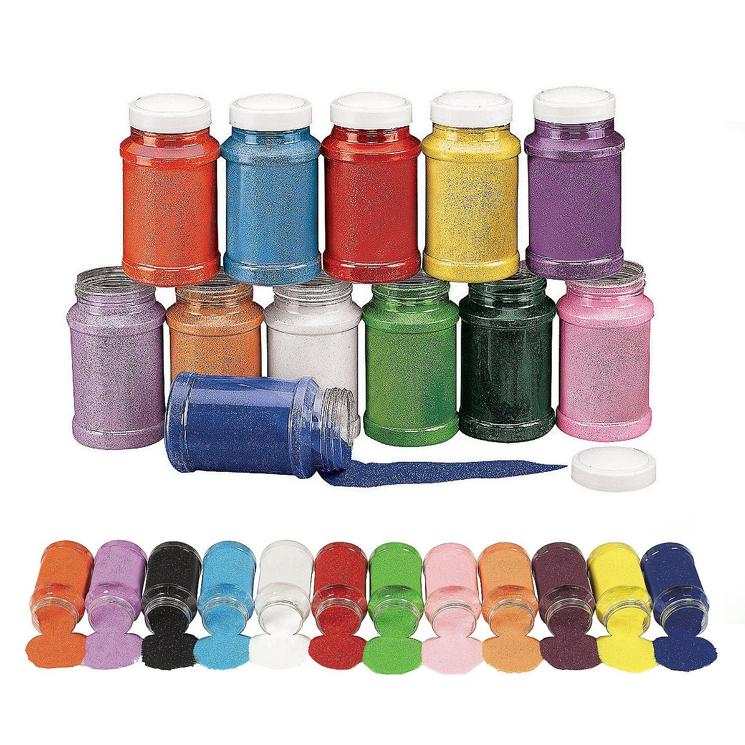 Colorful Rainbow Craft Sand Assortment (12 Pc) 22 Oz. Per Bottle, 12 Huge Bottles