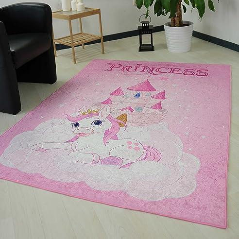 Teppich Rosa Kinderzimmer Mädchen Einhorn Prinzessin Waschbar Und  Anti Rutsch Rücken (120x170 Cm)