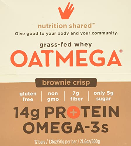 Boundless Nutrition Chocolate Brownie Oatmega Bar, 12 Count 1.8 oz 50g per bar