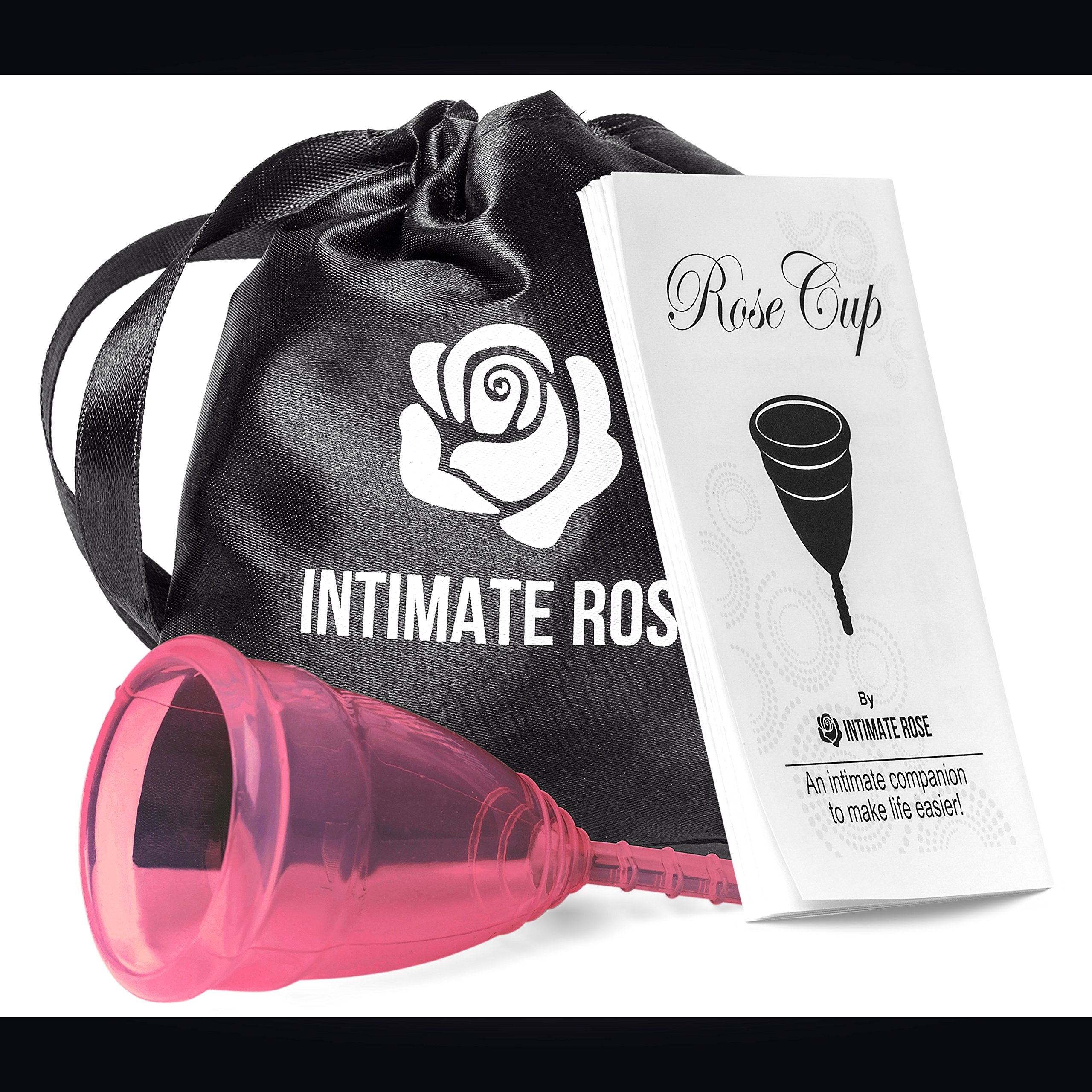 Intimate Rose Menstrual Cup Is Perfect For Beginners - 12 Hour Period Protection With FDA Approved Silicone - More Comfortable Option - Eco-Friendly Alternative to Tampons & Pads