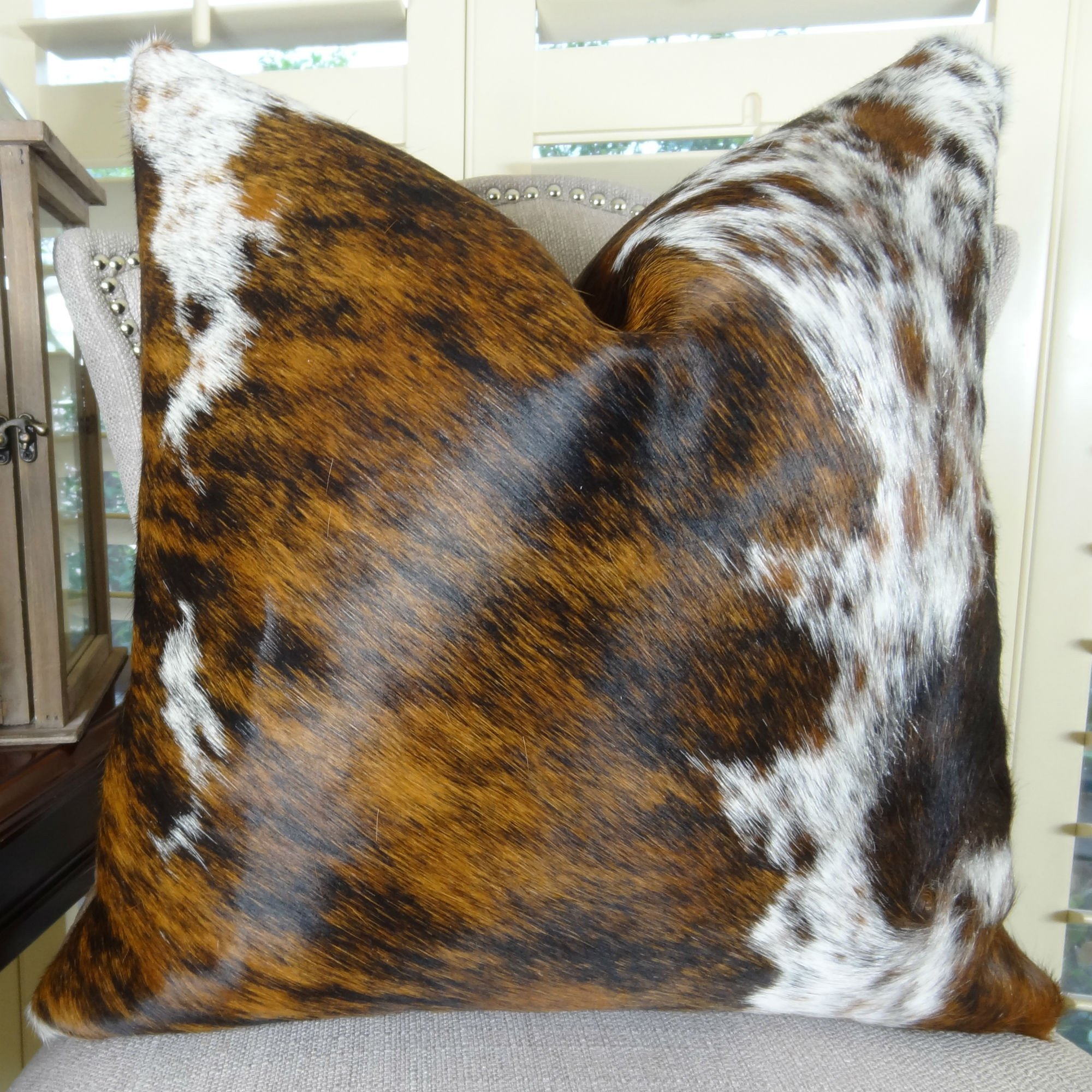 Thomas Collection Decorative Cowhide Throw Pillow, Dark Tri Color Decorative Brown Tan White Cowhide Pillow, High End Cowhide Accent Sofa Pillow, INCLUDES POLYFILL INSERT, Made in US, 16607 by Thomas Collection
