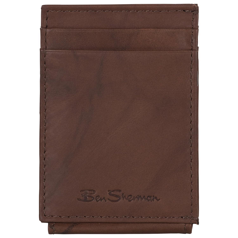 Ben Sherman Men's Leather Magnetic Closure Multi-Card Money Clip (RFID), Black 16335C