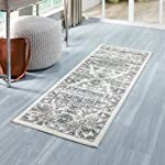Maples Rugs Runner Rug - Distressed Tapestry 2 x 6 Non Skid Hallway Entry Rugs Runners for Kitchen and Entryway, Neutral