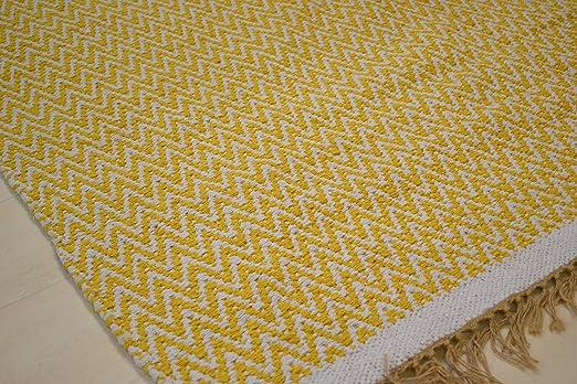 100% Pesado algodón Mostaza Marfil. 180 x 245 cm Grande ...