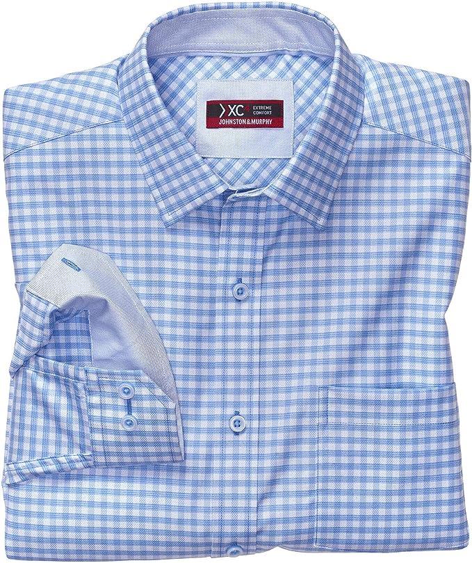 Johnston & Murphy XC4 Camisa con cuello de punto y cuadrícula ...