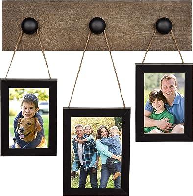 DesignOvation Lerner 3 Hanging Picture Frames Wood Collage, Black