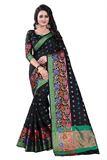 7b0d5841a Vedant Vastram Women s Poly Silk Printed Saree With Blouse Piece (Black  Colour)  Amazon.in  Clothing   Accessories