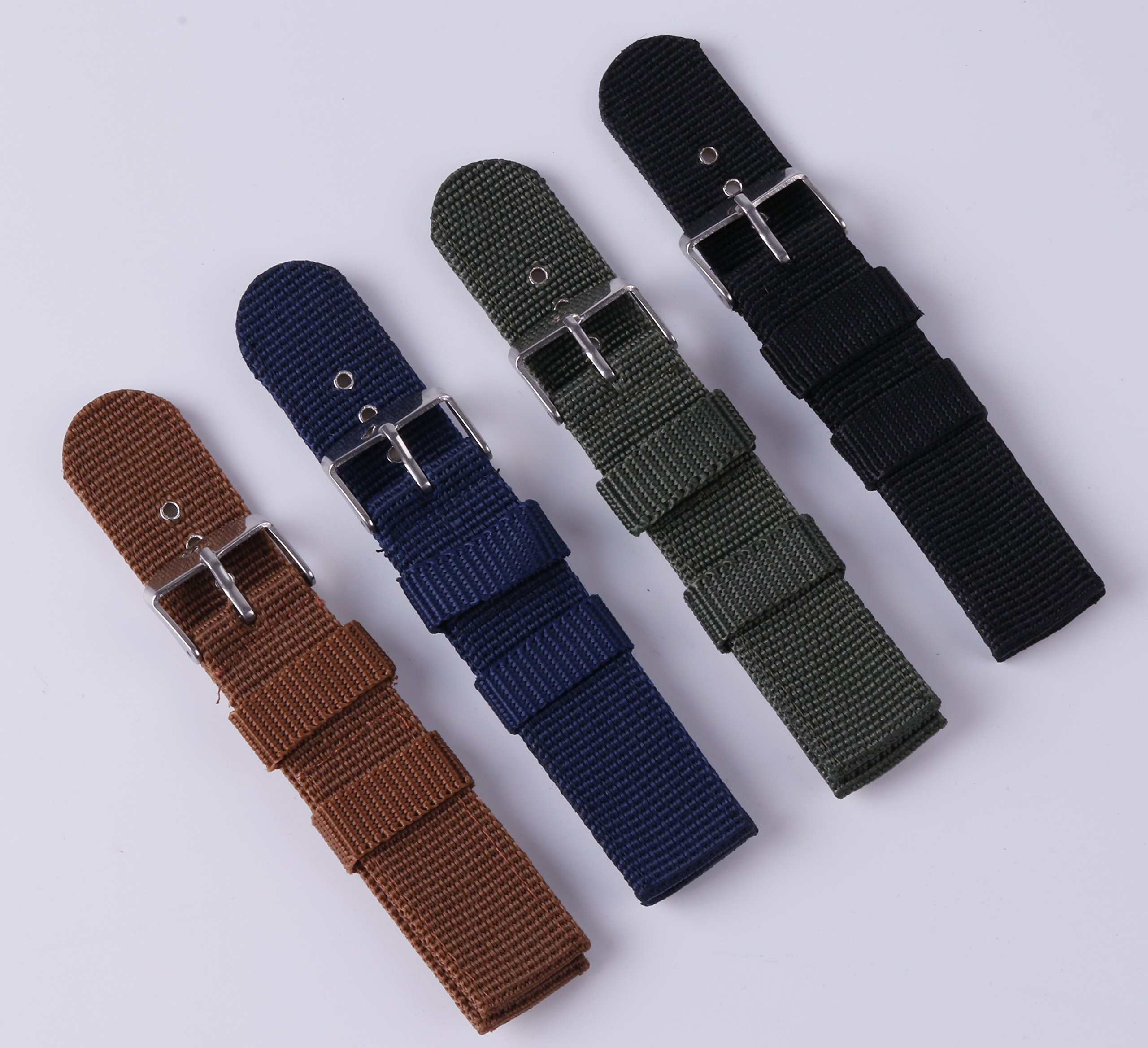4pcs Nylon Watch Bands 16mm 18mm 20mm 22mm 24mm Premium Replacement NATO Style Watch Straps for Women Men by BONSTRAP (Image #2)