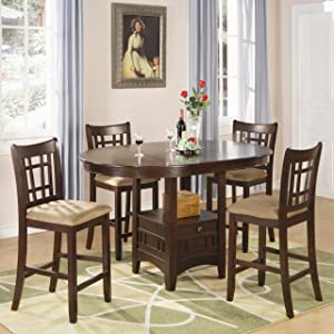 Coaster Home Furnishings Lavon 5-Piece Storage Counter Table Dining Set Warm Brown