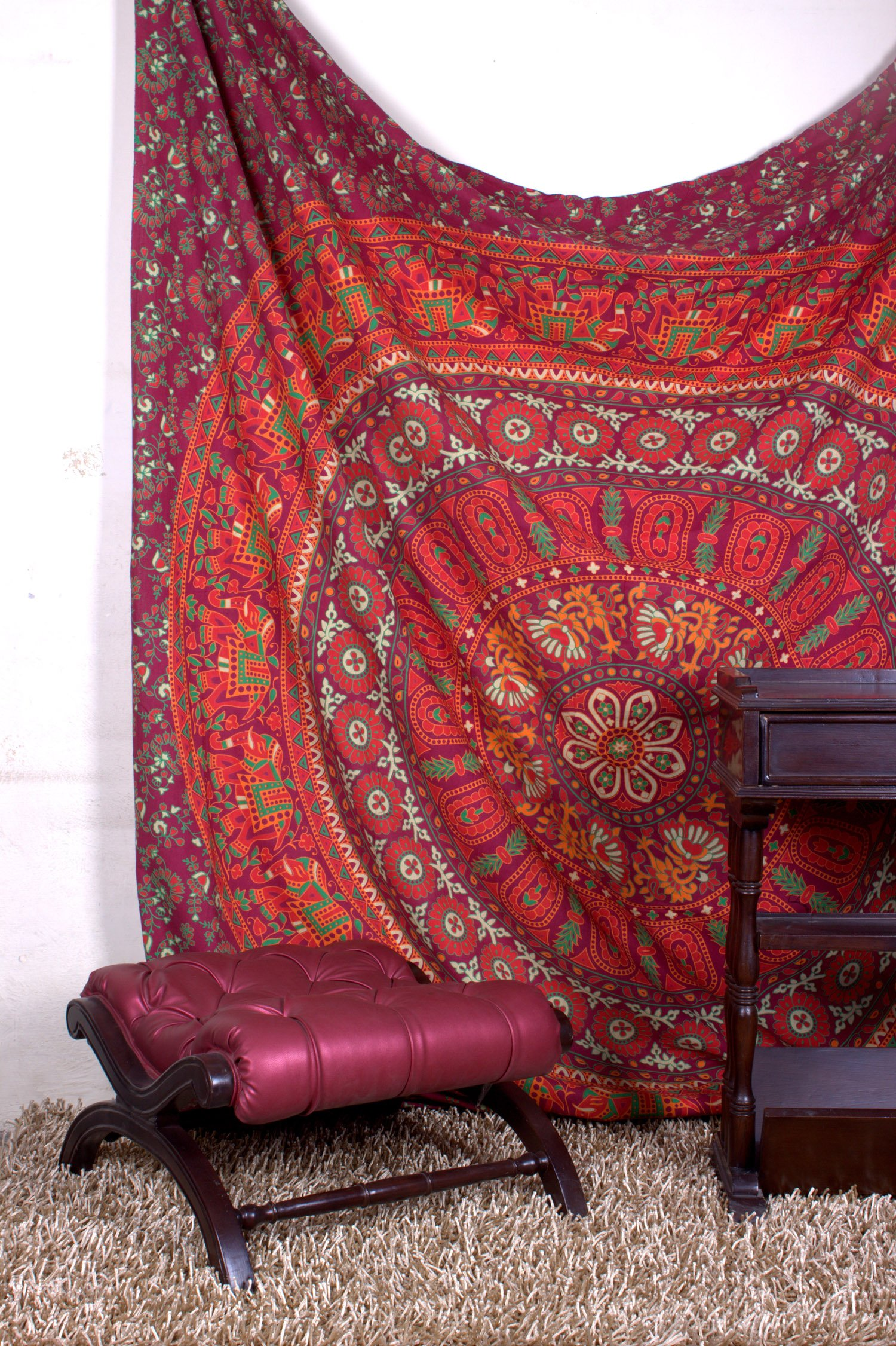 Aakriti Gallery Tapestry Queen hippie Flower Beautiful Artwork wall decor Mandala Beach BedSpread Intricate Indian Bedspread Tapestries 92x82 Inches (Maroon)