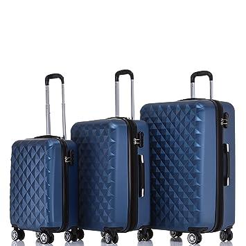 618846c18bc BEIBYE Kofferset 4 Zwillingsrollen Hartschale Trolley Koffer Reisekoffer  Reisekofferset Gepäckset in 12 Farben (Blau)