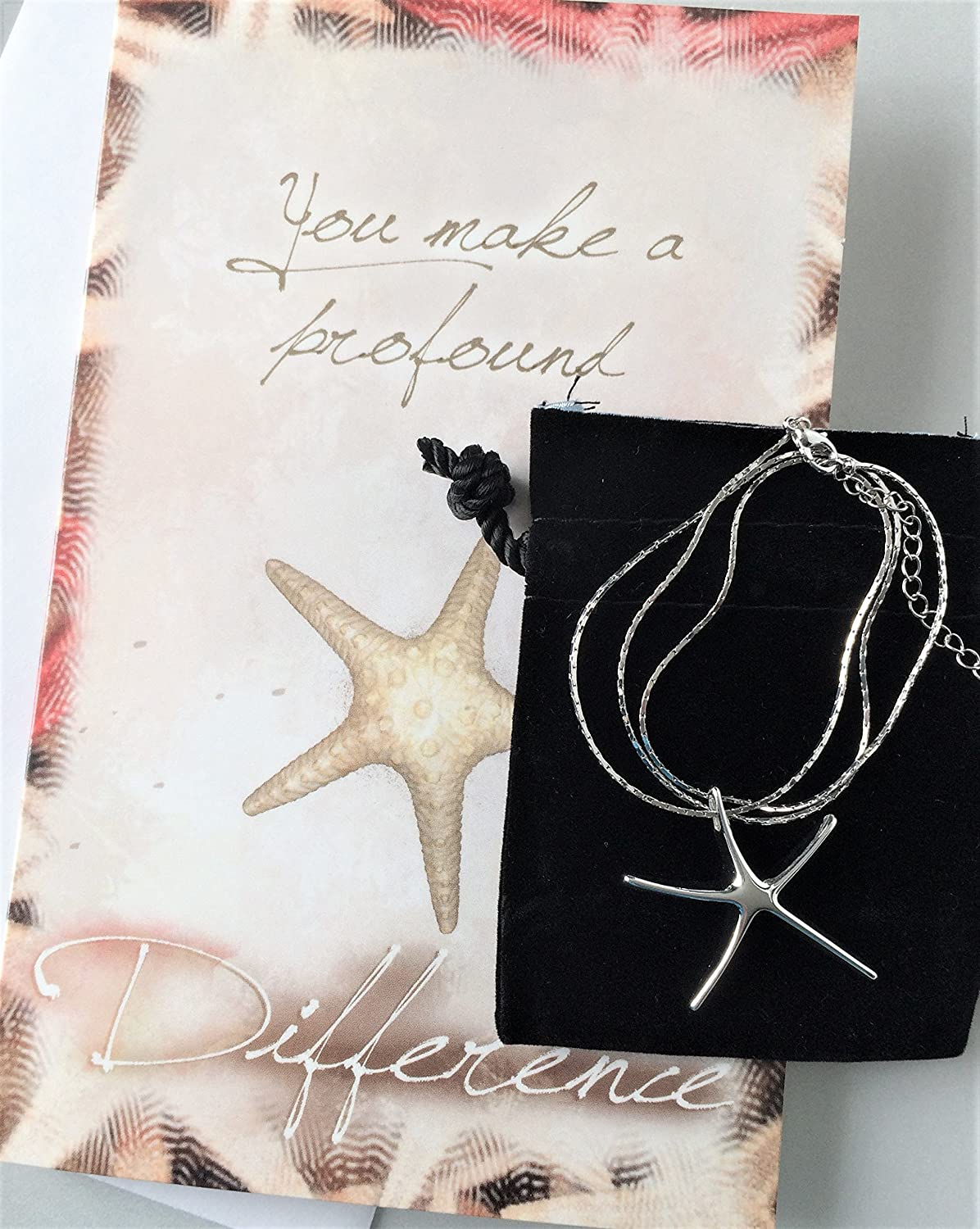 Starfish poem card - Amazon Com Smiling Wisdom Starfish Silver Necklace Gift Set You Make A Profound Difference Card Appreciation Thank You Friend Teacher Volunteer