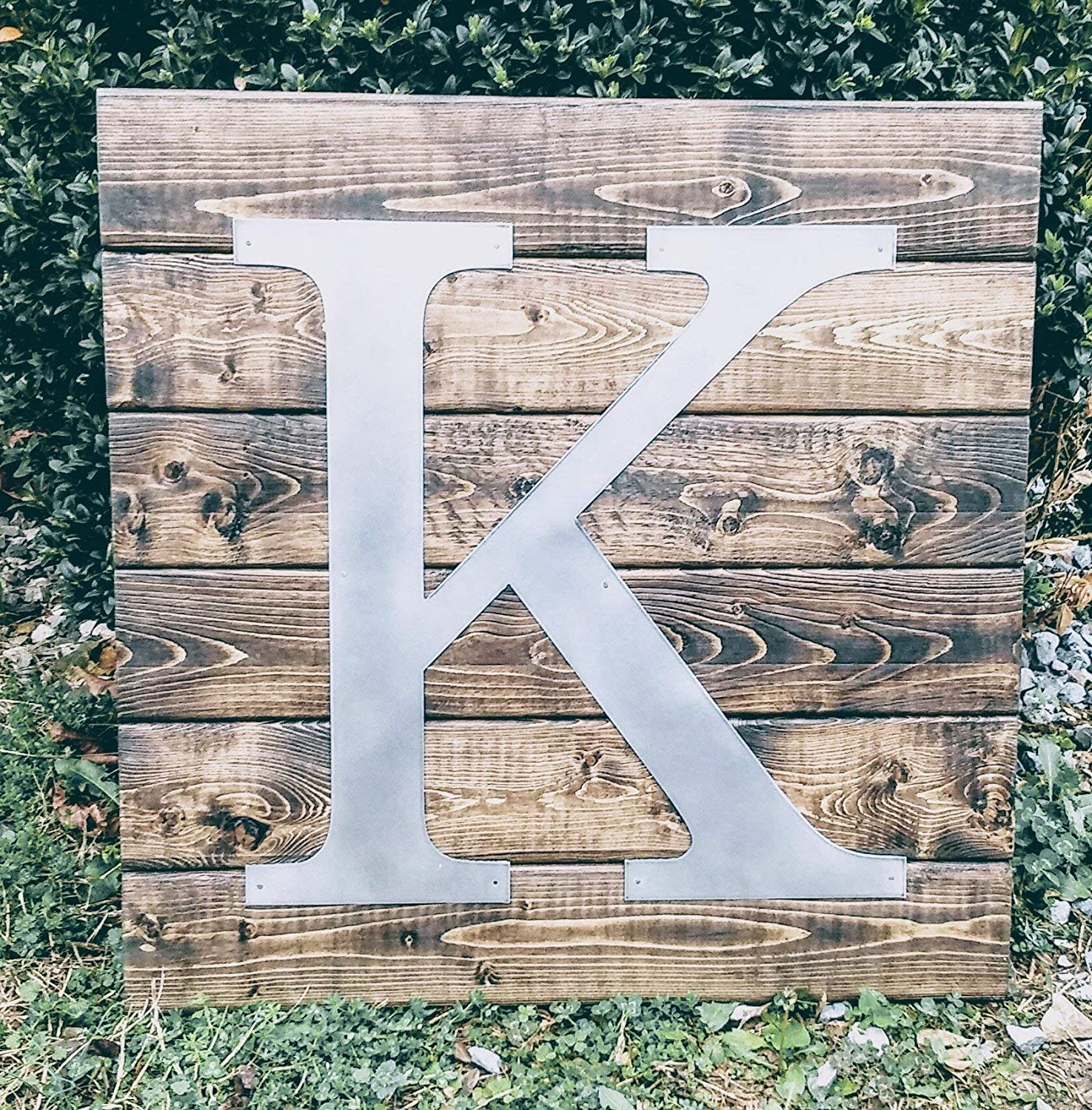 Farmhouse Wall Decor- Rustic Wood Sign with Metal Letter