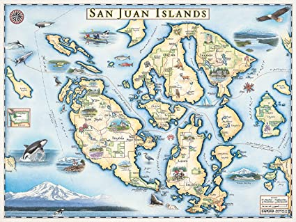Hand Drawn Map Of The World.Amazon Com San Juan Islands Map Wall Art Poster Authentic Hand