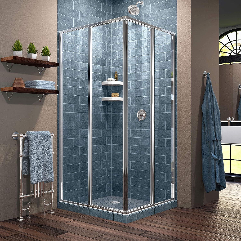 DreamLine Cornerview 34 1 2 in. D x 34 1 2 in. W x 72 in. H Framed Sliding Shower Enclosure in Chrome, SHEN-8134340-01