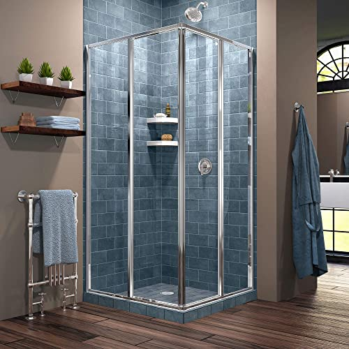 DreamLine Cornerview 34 1 2 in. D x 34 1 2 in. W x 72 in. H Framed Sliding Shower Enclosure in Chrome, SHEN-8134340-01