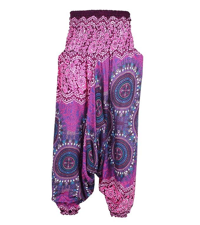 753f621585 Aladdin Genie Hippy Boho Harem Yoga Gipsy Festival Baggy 2in1 Trouser  Jumpsuit Onesie (Bohemian - Black) at Amazon Women s Clothing store