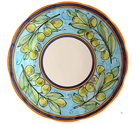 Handmade Ceramic Dinner Plate - Limited Edition Turquoise Blue Olive Pattern - IMPORTED - 10.2u0026quot;  sc 1 st  Amazon.com & Amazon.com | Handmade Ceramic Dinner Plate - Limited Edition ...