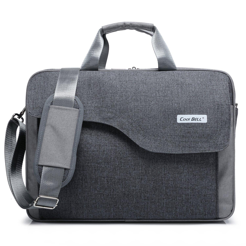 CoolBELL 15.6 Inch Nylon Laptop Bag Shoulder Bag With Strap Multicompartment Messenger Hand Bag Tablet Briefcase For iPad Pro/laptop/Macbook/Ultrabook/Men/Women/College (Grey)