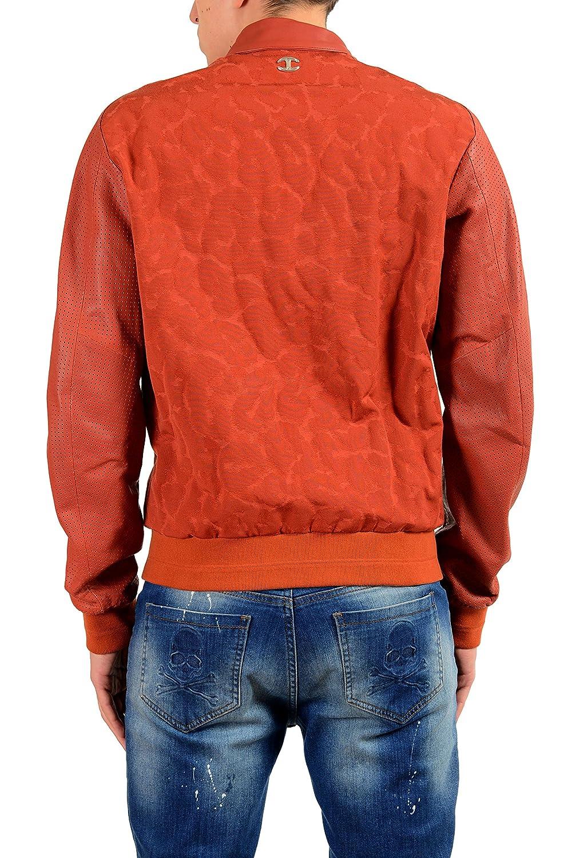 639ff46f5 Amazon.com: Just Cavalli Men's Leather Brick Red Full Zip Bomber ...