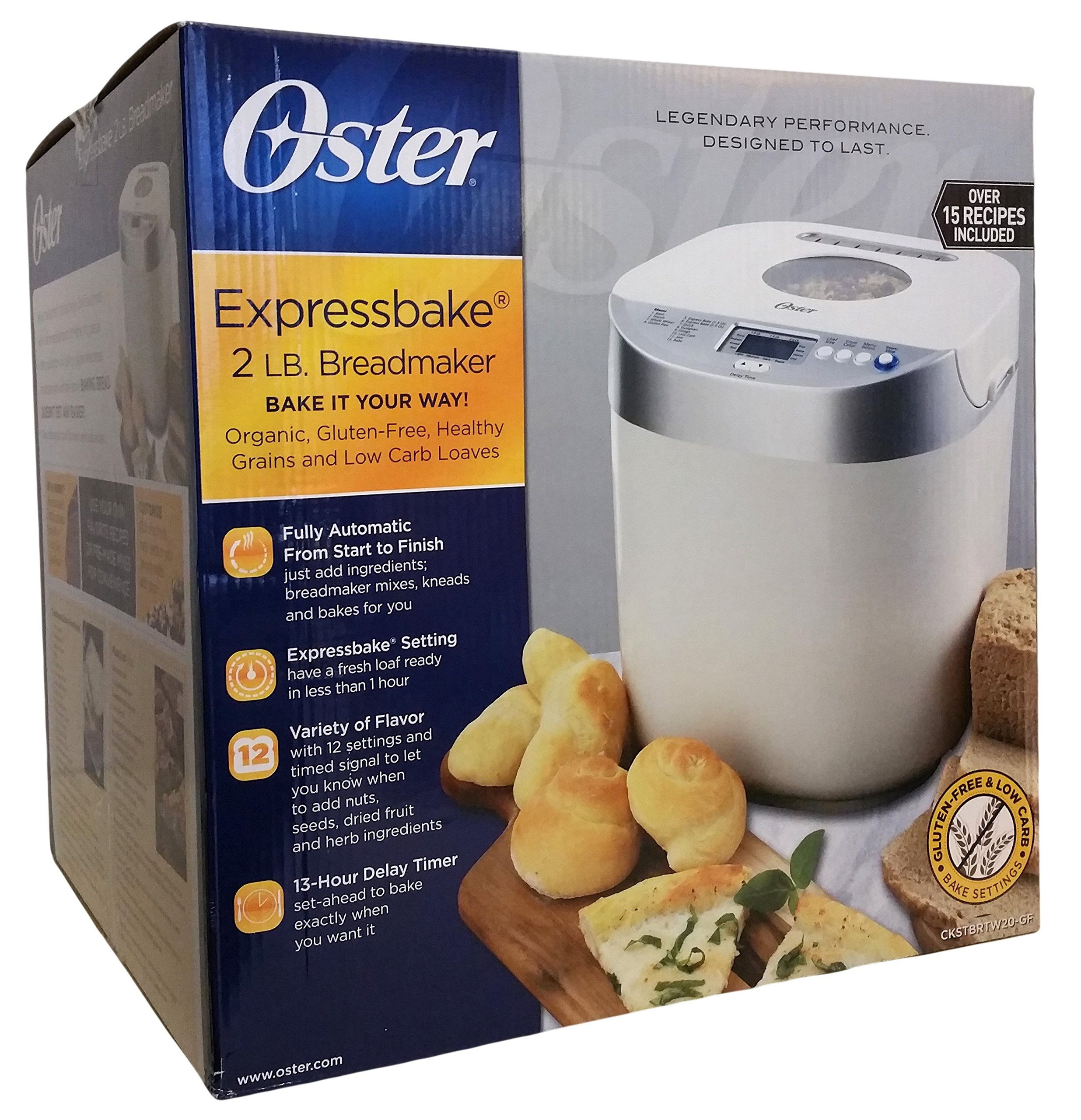 Oster Expressbake 2 LB. Breadmaker with Gluten-Free & Low Carb Settings
