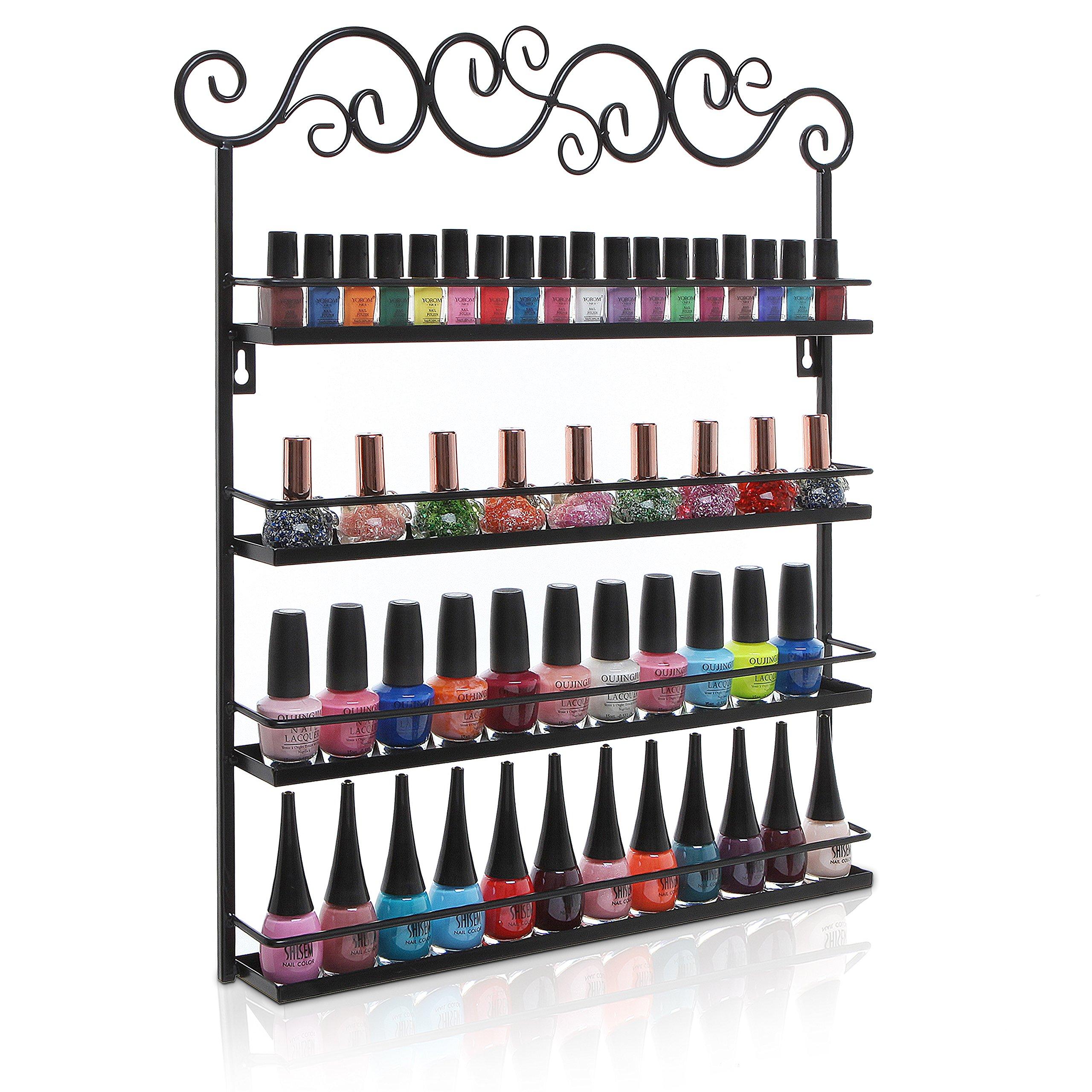 Black Metal Wall Mounted 4 Shelf Nail Salon Polish Rack / Makeup Cosmetics Storage Organizer Shelves