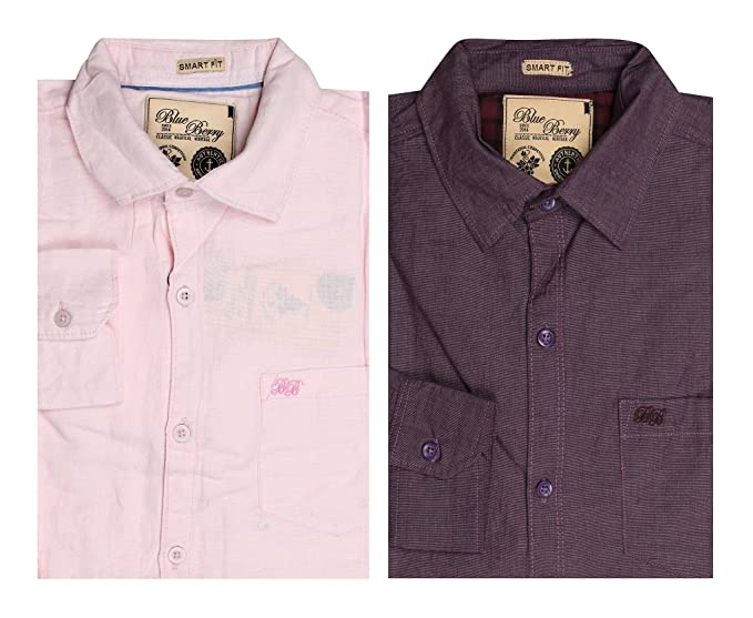 1e82c52518 Blueberry Blue Berry Men s Casual Shirts- Pack of 2 (BB-7