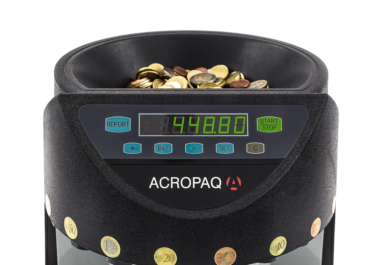 /Nero /Funzionamento semplice/ /Vassoi removibili/ Acropaq cc601/ /Contamonete e Mailbox di pezzi Moneta Euro/