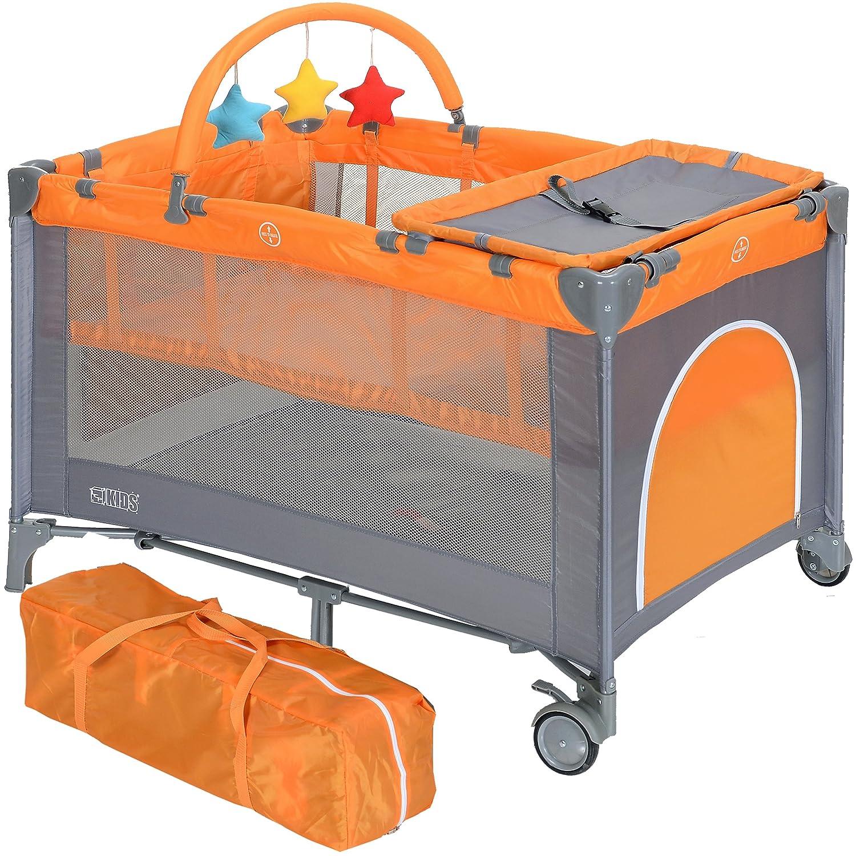Lit Bébé de voyage pas cher enfant Parapluie Pliant Réglable avec table langer gris argent orange