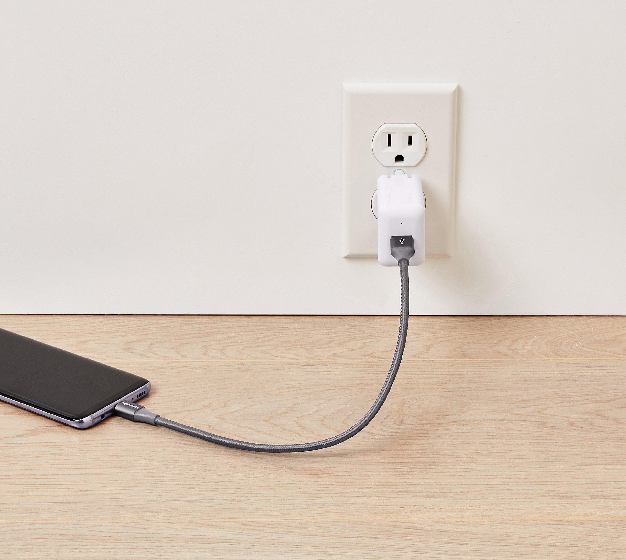 AmazonBasics Double Braided Nylon USB Type-C to Type-A 3.1 Gen 2 Cable   1 feet, Dark Grey by AmazonBasics (Image #3)