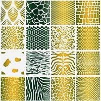 16 Pieces Animal and Plant Print Stencils Zebra Grain Art Painting Stencils Reusable Grain Painting Template for…