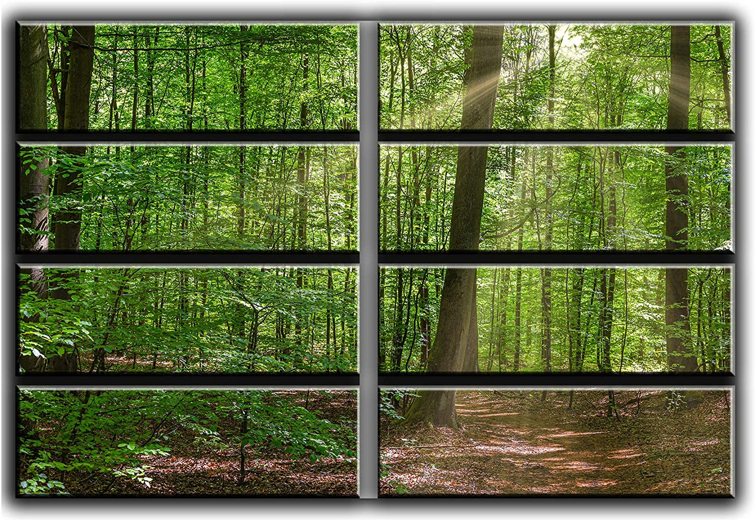 8 Huge Piece Sunny Day in Forest Wall Art Decor Picture Painting Poster Print on Canvas Panels Pieces - Nature Theme Wall Decoration Set - Spring Time Hiking Wall Picture for Living Room Bedroom