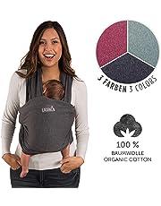 Baby portabebés     100% de algodón bio   portabebés   portabebés para recién nacidos hasta 15kg   de fabricación europeo   transpirable   sin Artificial Elastano, de laleni (gris)