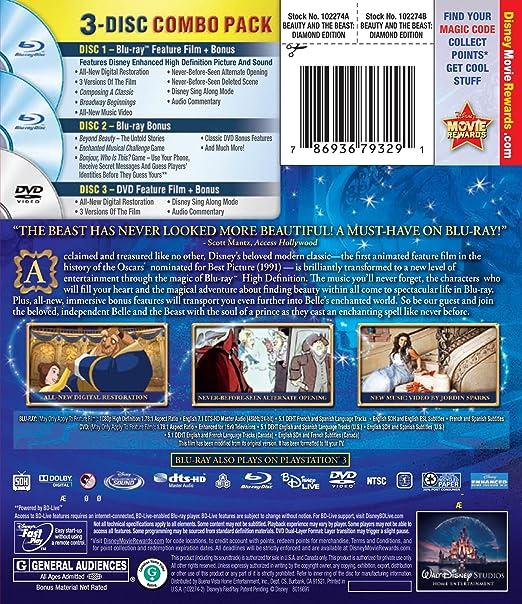 Amazon com: Beauty and the Beast (Three-Disc Diamond Edition