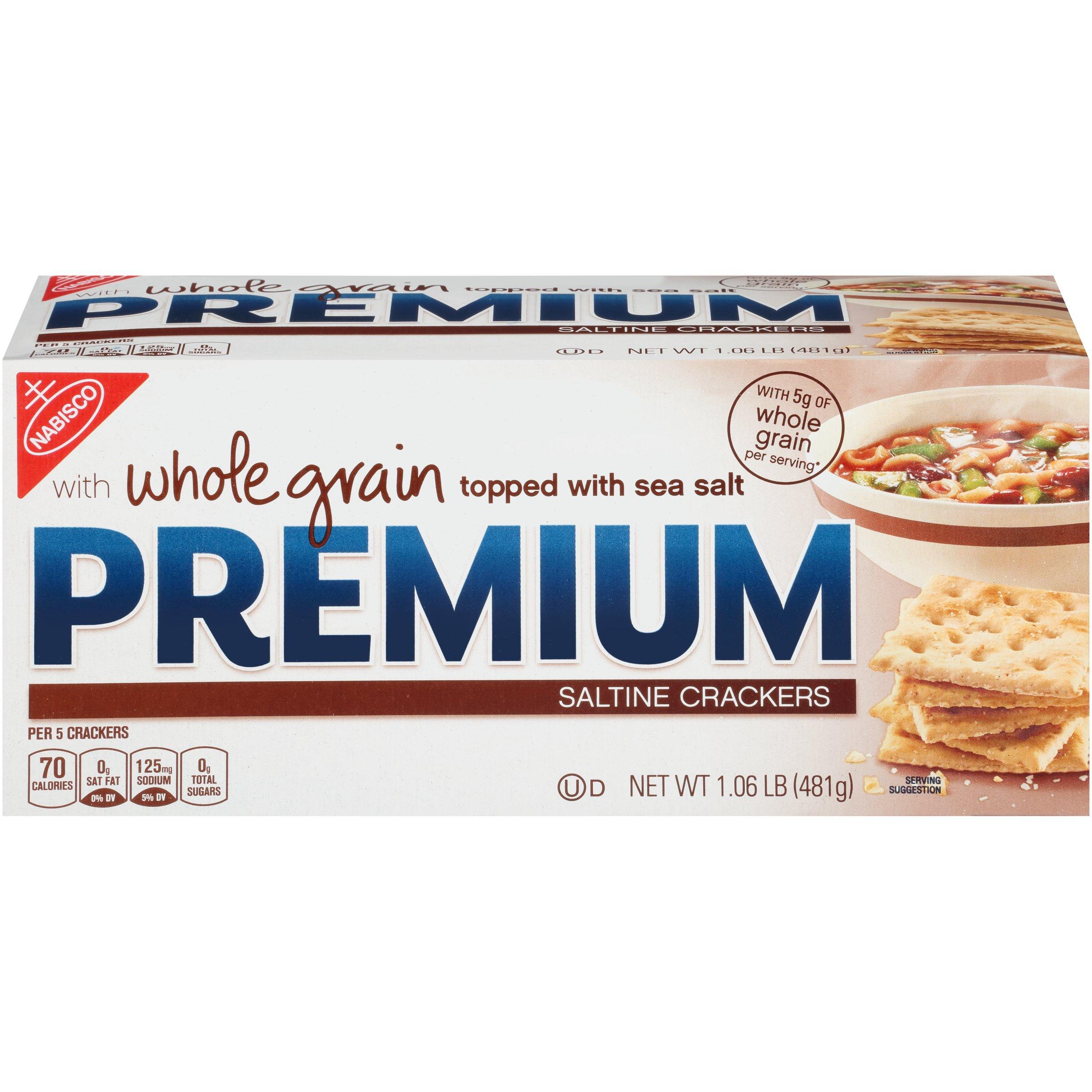 Premium Saltine Crackers, Whole Grain, 16.96 oz (Pack of 12) by PREMIUM