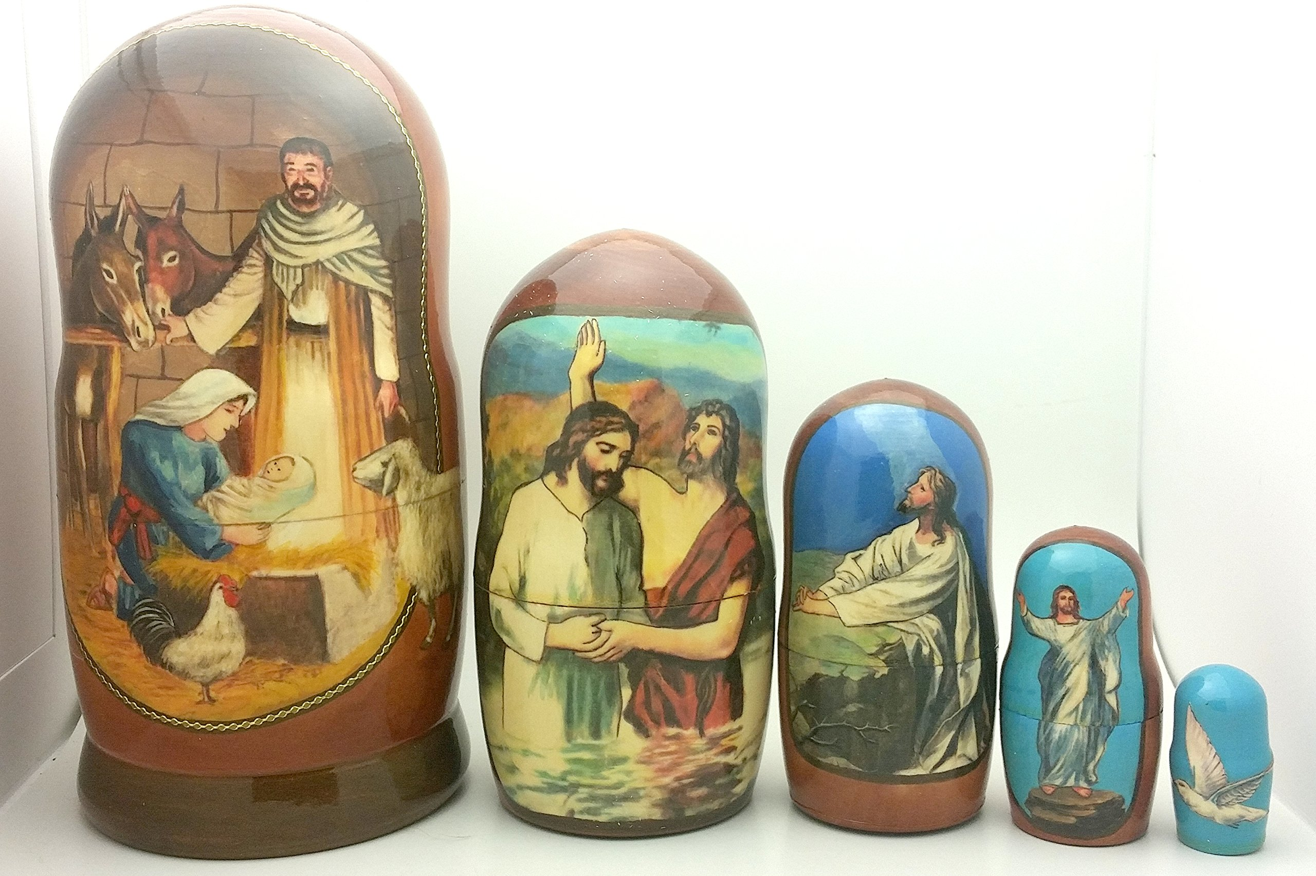 Nativity Jesus Life Nesting Doll Hand Made in Russia 5 Piece 7''H Christmas Set by BuyRussianGifts (Image #2)