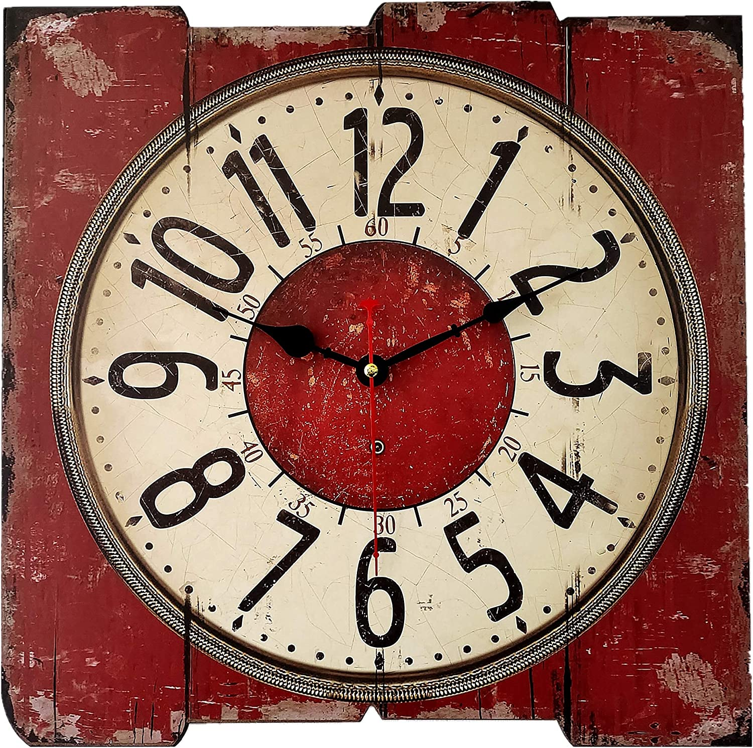 16inch Red Retro Square Wall Clock, Large Vintage Paris Decorative Clocks for Kitchen, Living Room or Office