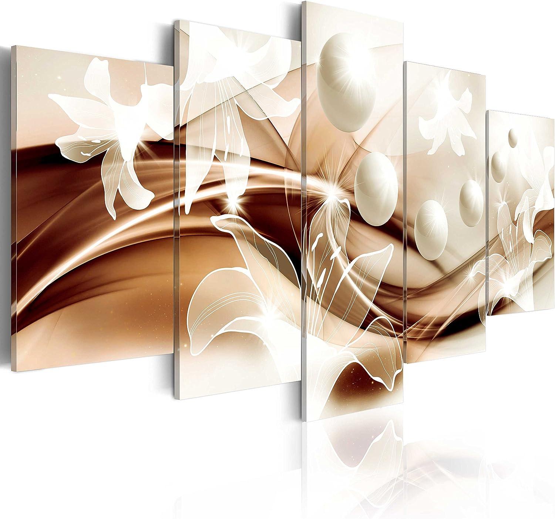 murando - Cuadro en Lienzo 200x100 cm Abstracto Impresión de 5 Piezas Material Tejido no Tejido Impresión Artística Imagen Gráfica Decoracion de Pared Arte Flor b-A-0226-b-o