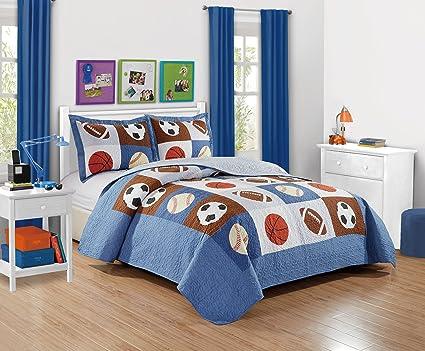 Amazon Com Mk Collection 2 Pc Bedspread Boys Sport Football