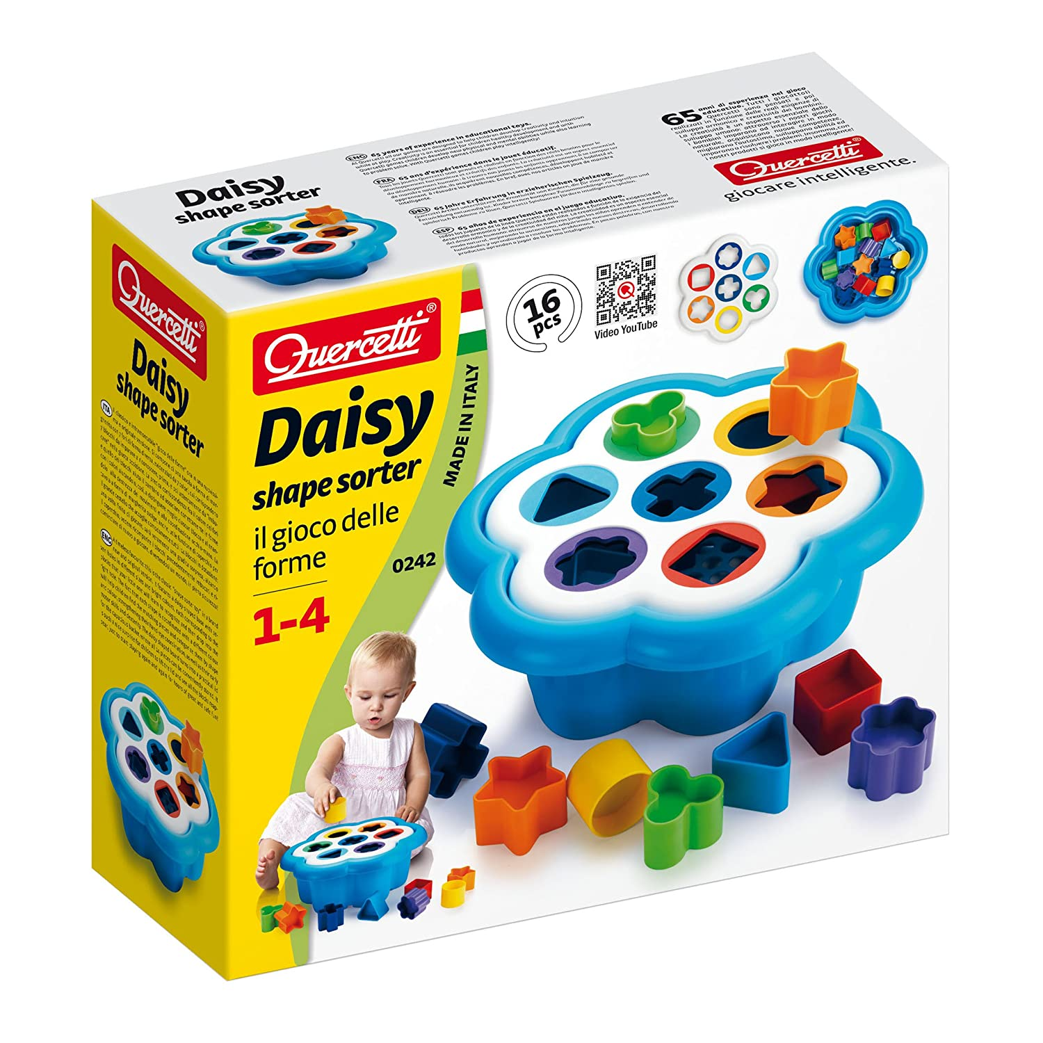 Quercetti Daisy Shape Sorter Classic 16 Piece Shape and Color Sorting Toy Made in Italy