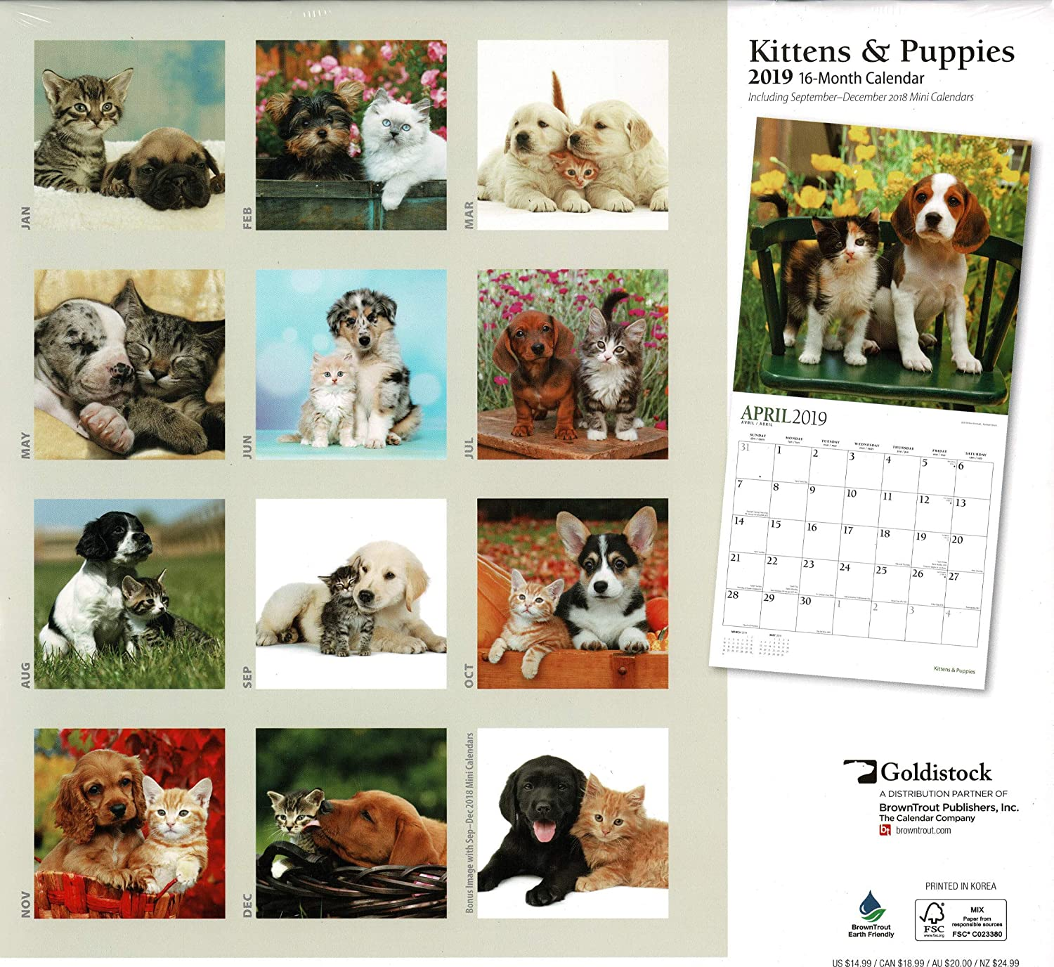 12 x 24 Goldistock -Kittens /& Puppies Eco-Friendly 2019 Large Wall Calendar - Thick /& Sturdy Paper Open Myth Debunked