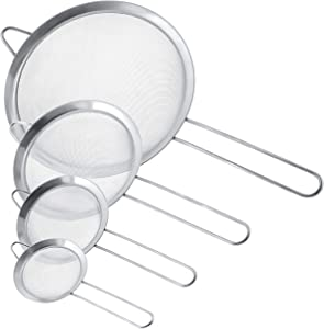 U.S. Kitchen Supply - Set of 4 Premium Quality Fine Mesh Stainless Steel Strainers - 3