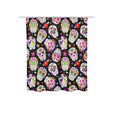 Newing Shower Curtain - Day of the Dead Sugar Skull pattern - Mildew resistant - Machine Washable - Shower Hooks are Included