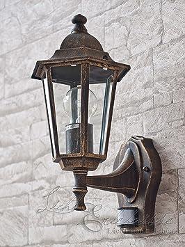 Clásica Lámpara de Pared con Sensor de Movimiento / Linterna de Pared / Iluminación Exterior IP43