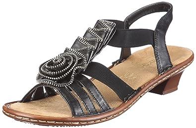3Amazon Regina Rieker Sandal Women's Uk ukShoes Blackblack co wn08PXOk