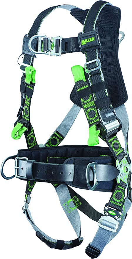 Capacity RDT-QC-BDP//XXL//XXXLBK Miller Revolution Full Body Safety Harness with Quick Connectors Removable Belt Side D-Rings /& Pad 400 lb Size 2X /& 3X