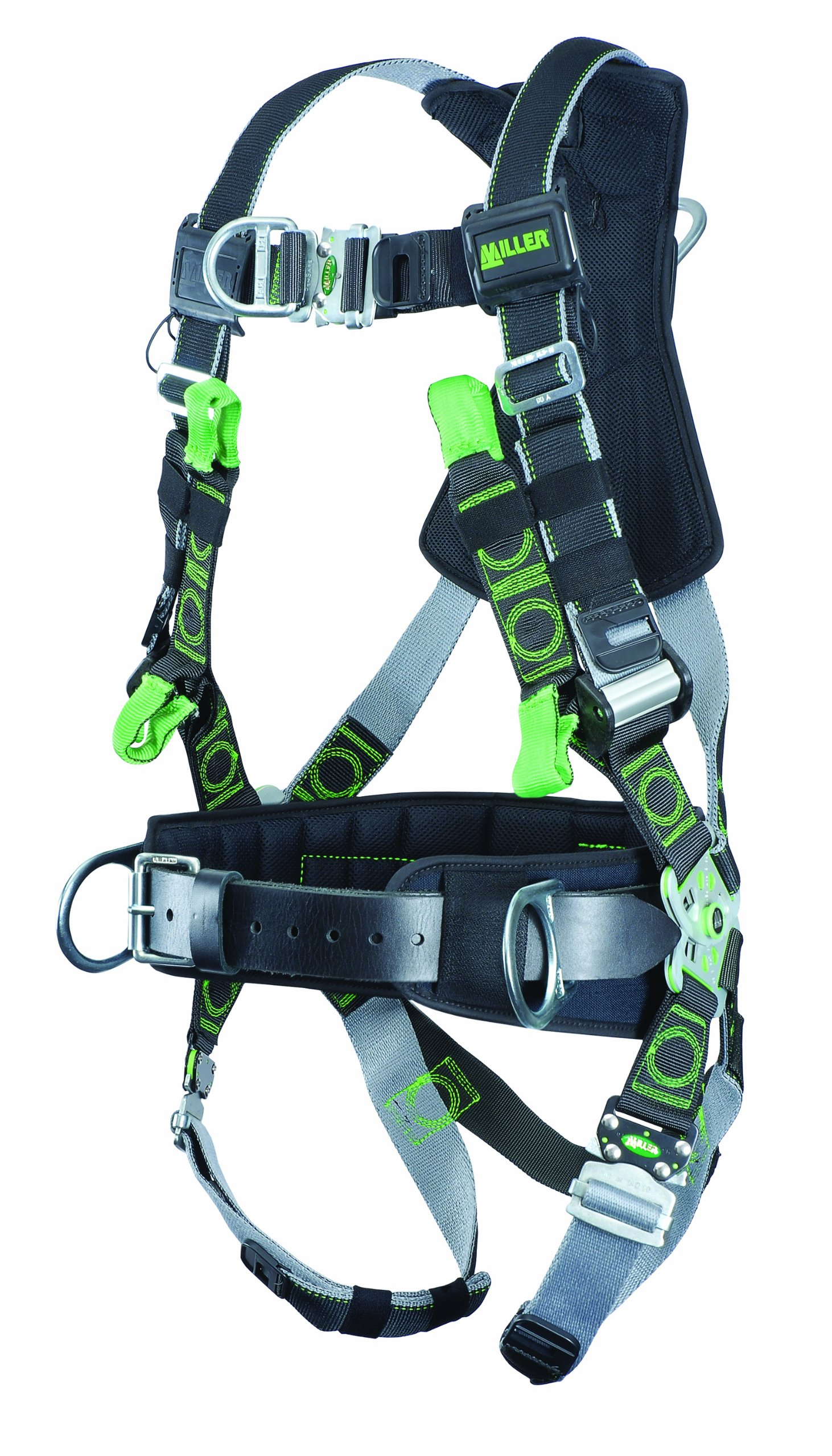 Miller Revolution Full Body Safety Harness with Quick Connectors, Front D-Ring, Suspension Loop, Removable Belt, Side D-Rings & Pad, Small/Medium, 400 lb. Capacity (RDTFDSL-QC-BDP/S/MBK)