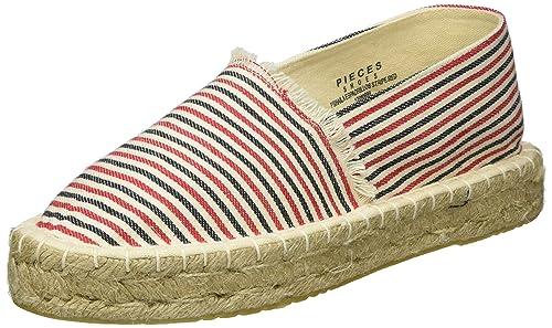 PIECES Pshaila Espadrillos Stripe Red, Alpargatas para Mujer: Amazon.es: Zapatos y complementos